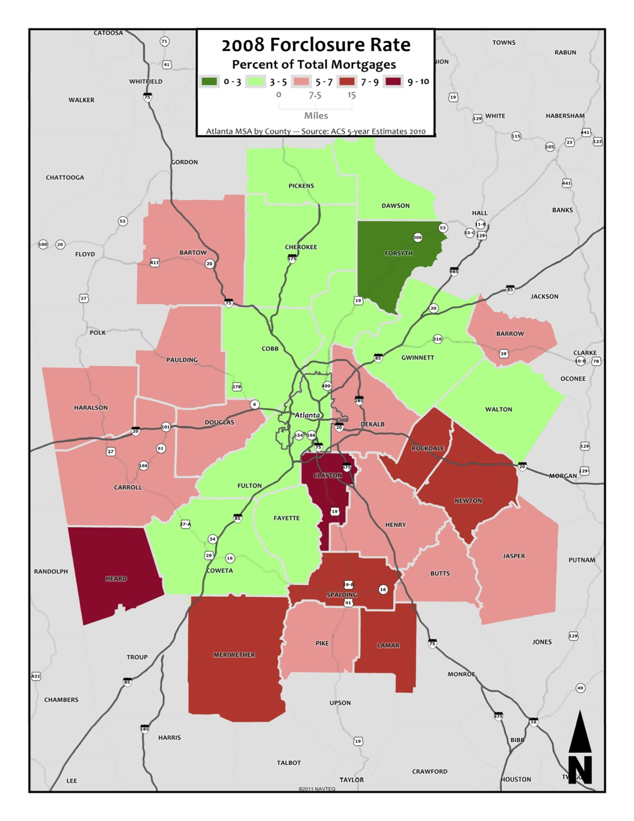 2008 Home Forclosure Rate – metro counties