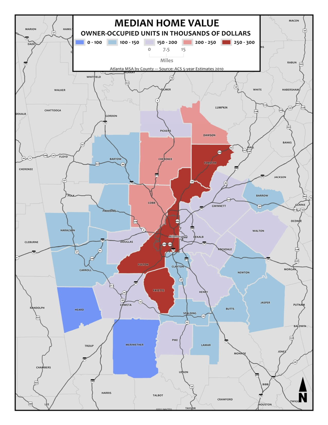 Median Home Value – metro counties