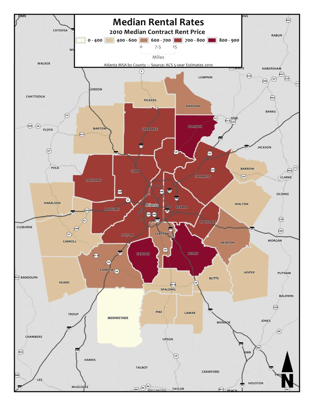 Median Rental Rates – metro counties