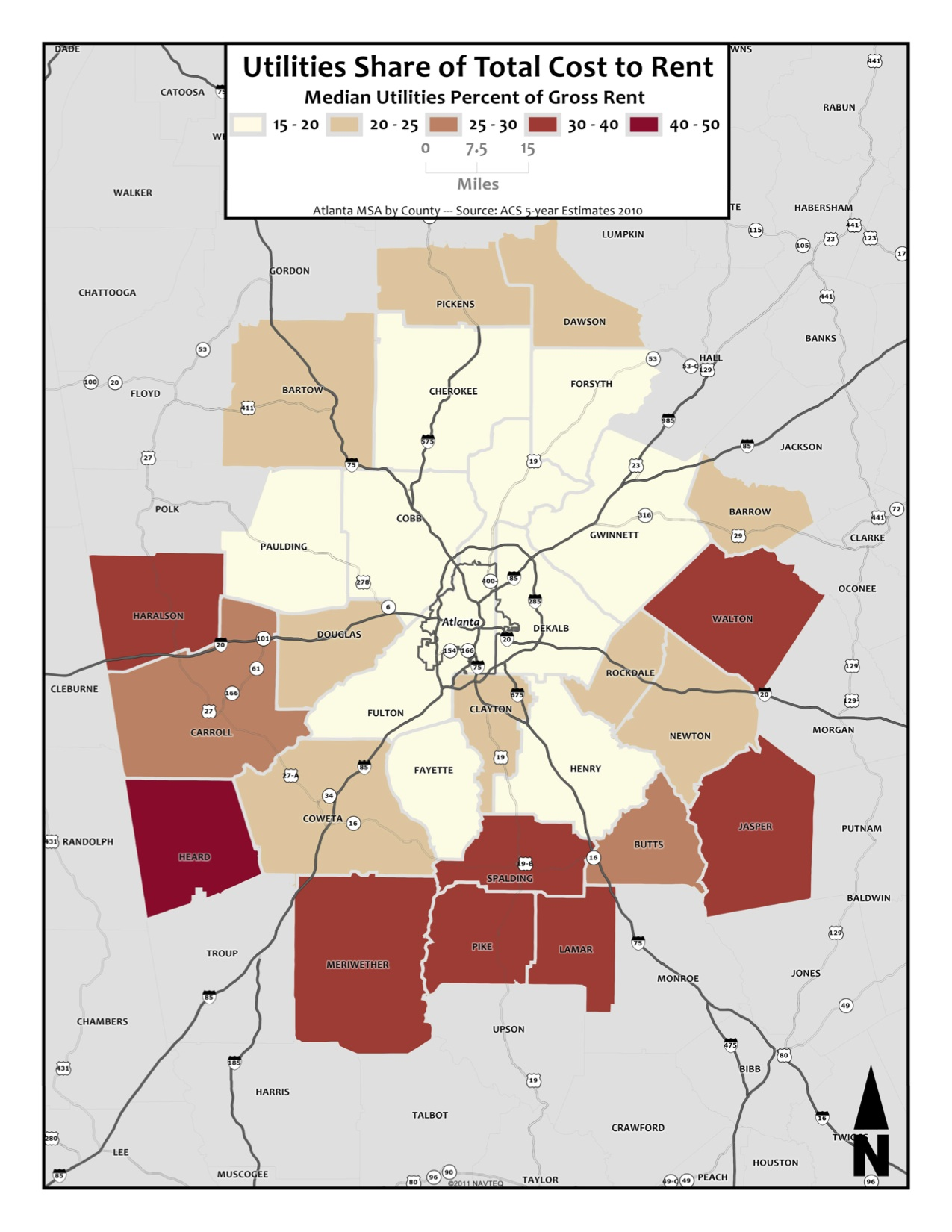 Utilities Share of Total Rent Cost – metro counties