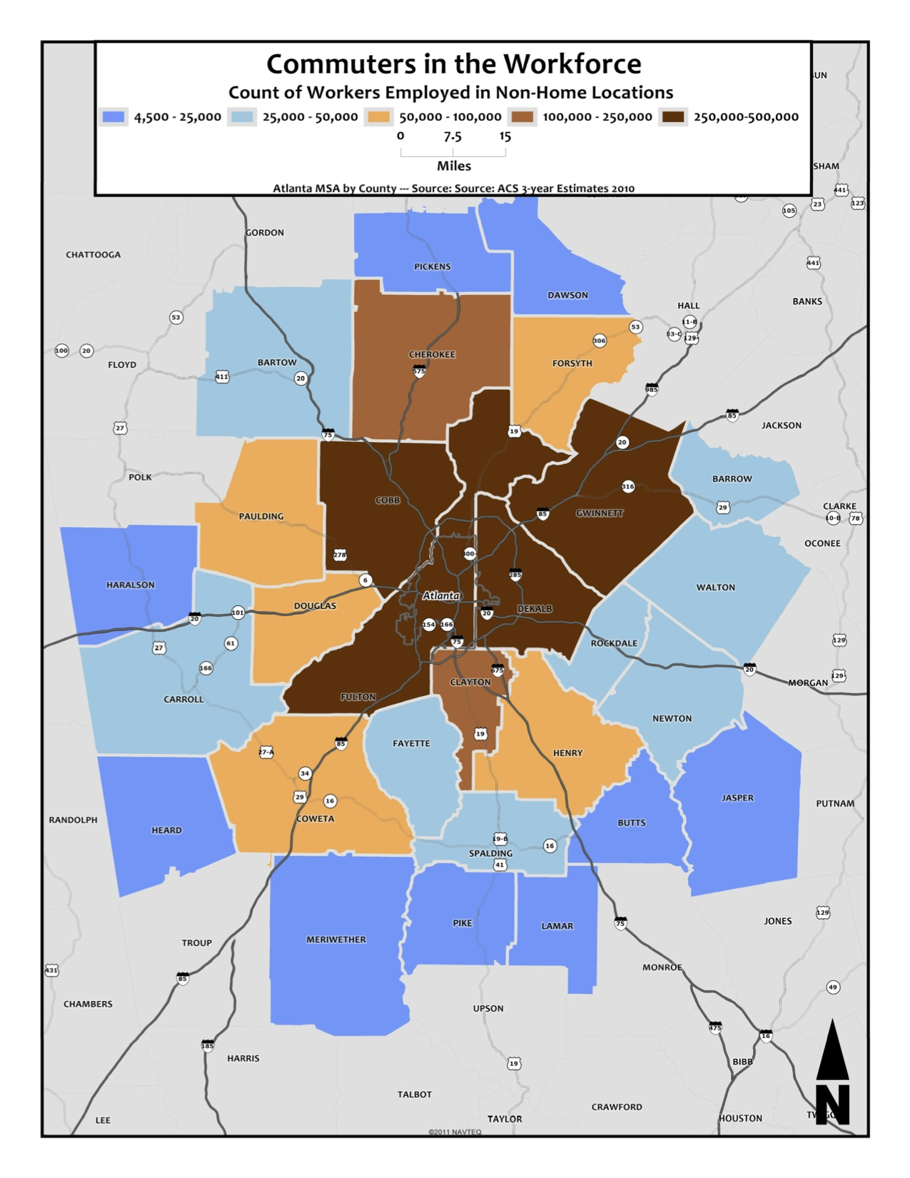 Commuting Workforce Size – metro counties