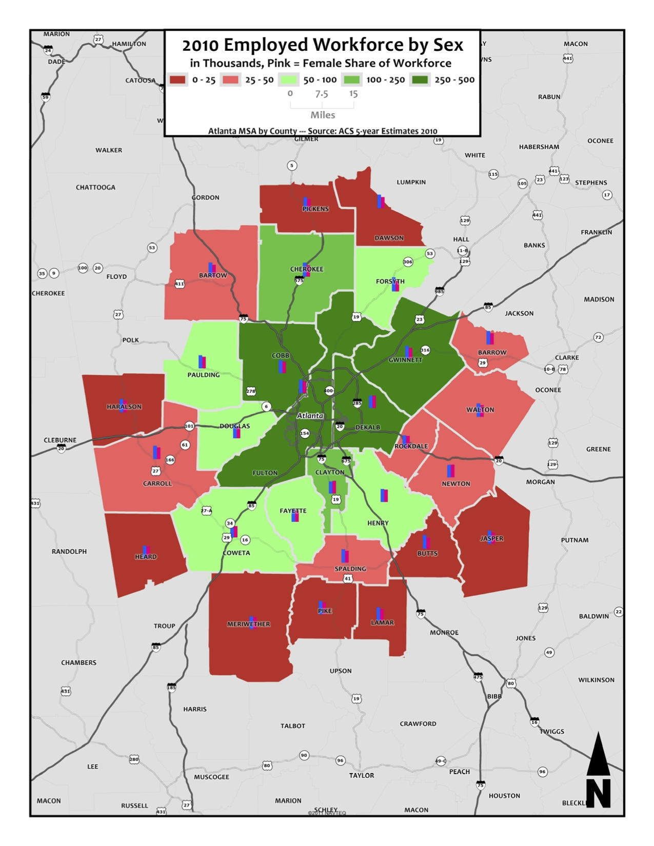 Sex of Employed Workforce – metro counties