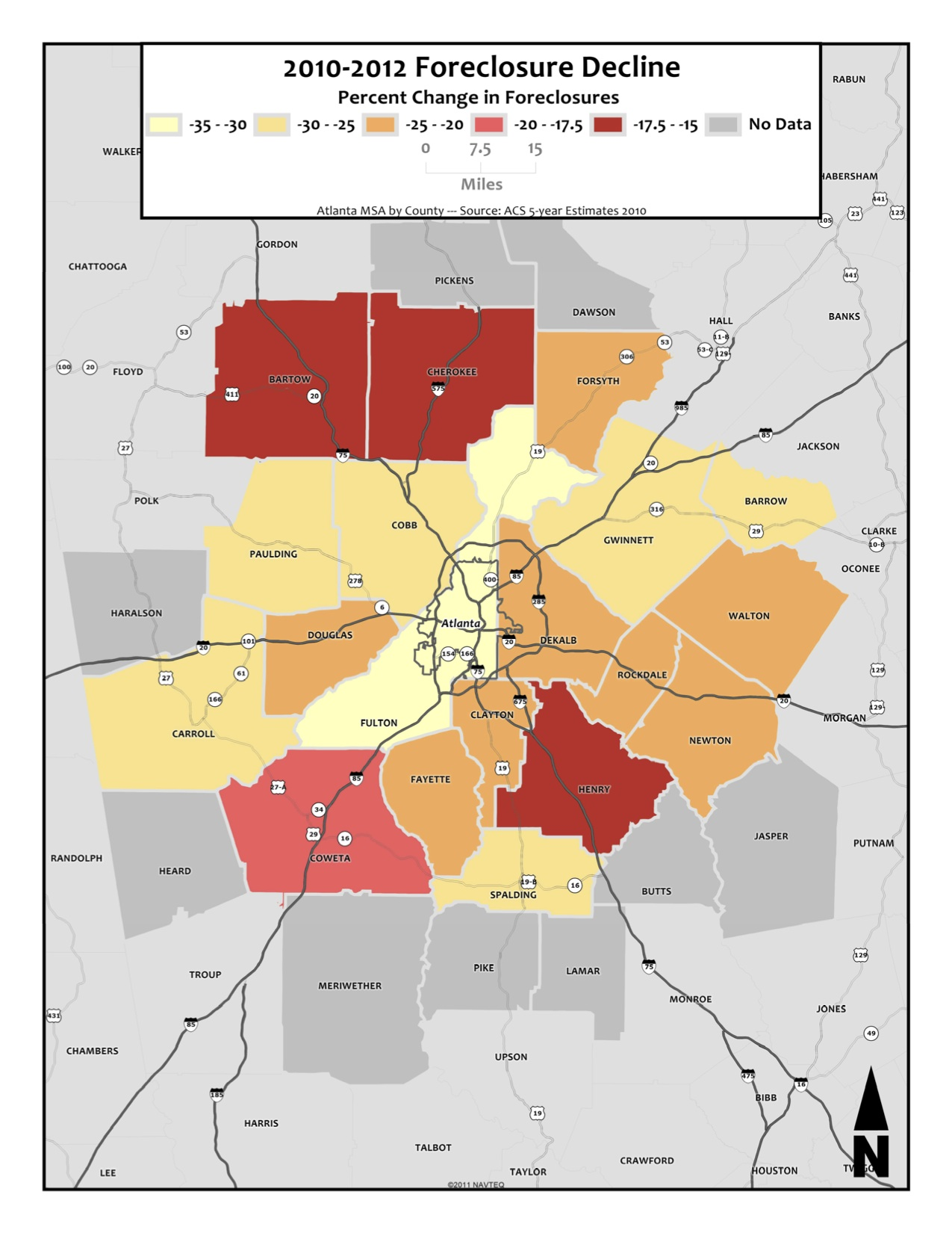 Foreclosure Change, 2010-2012 – metro counties