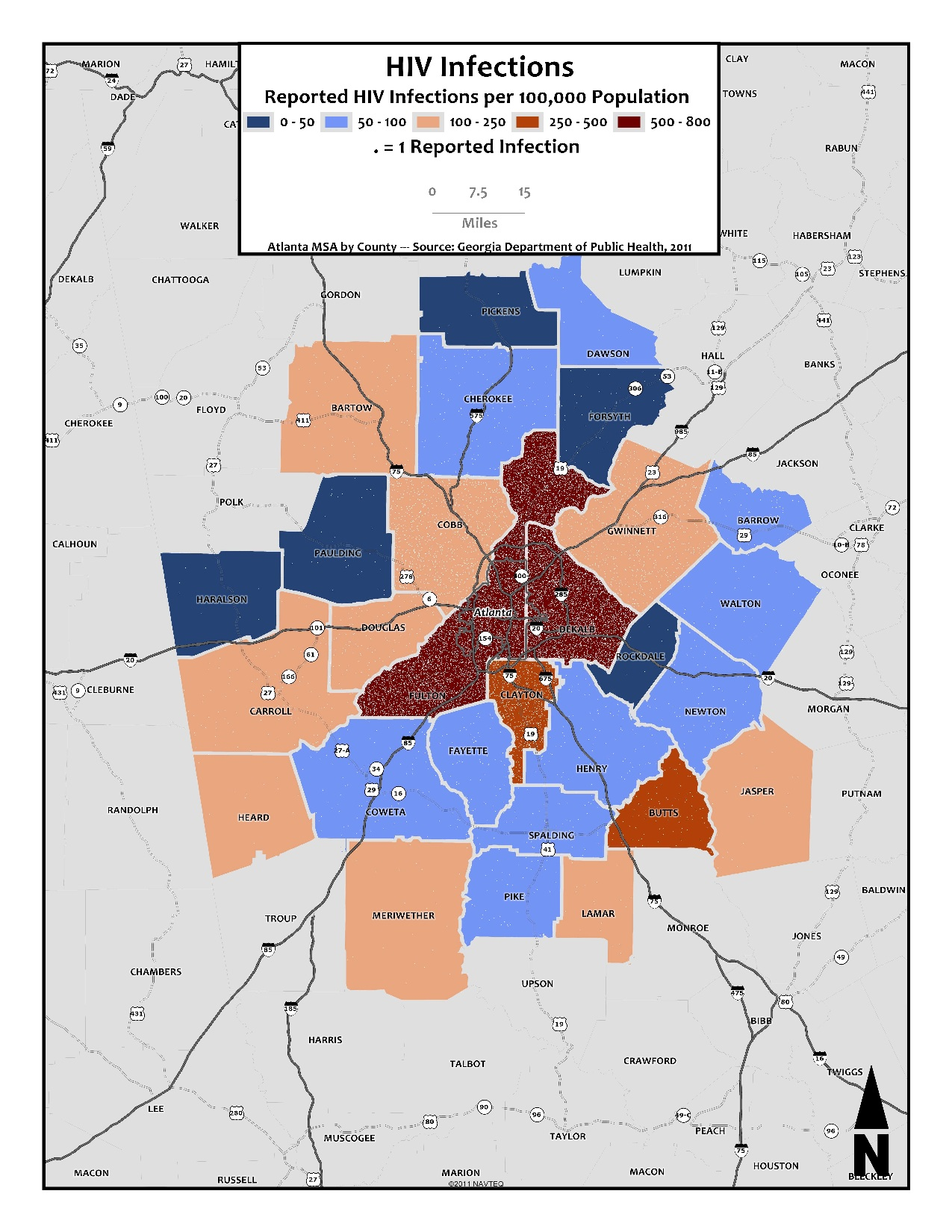 HIV Infections – metro counties & dot-density