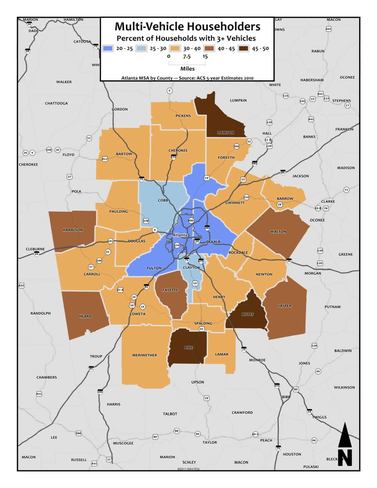 Multi-Vehicle Households – metro counties