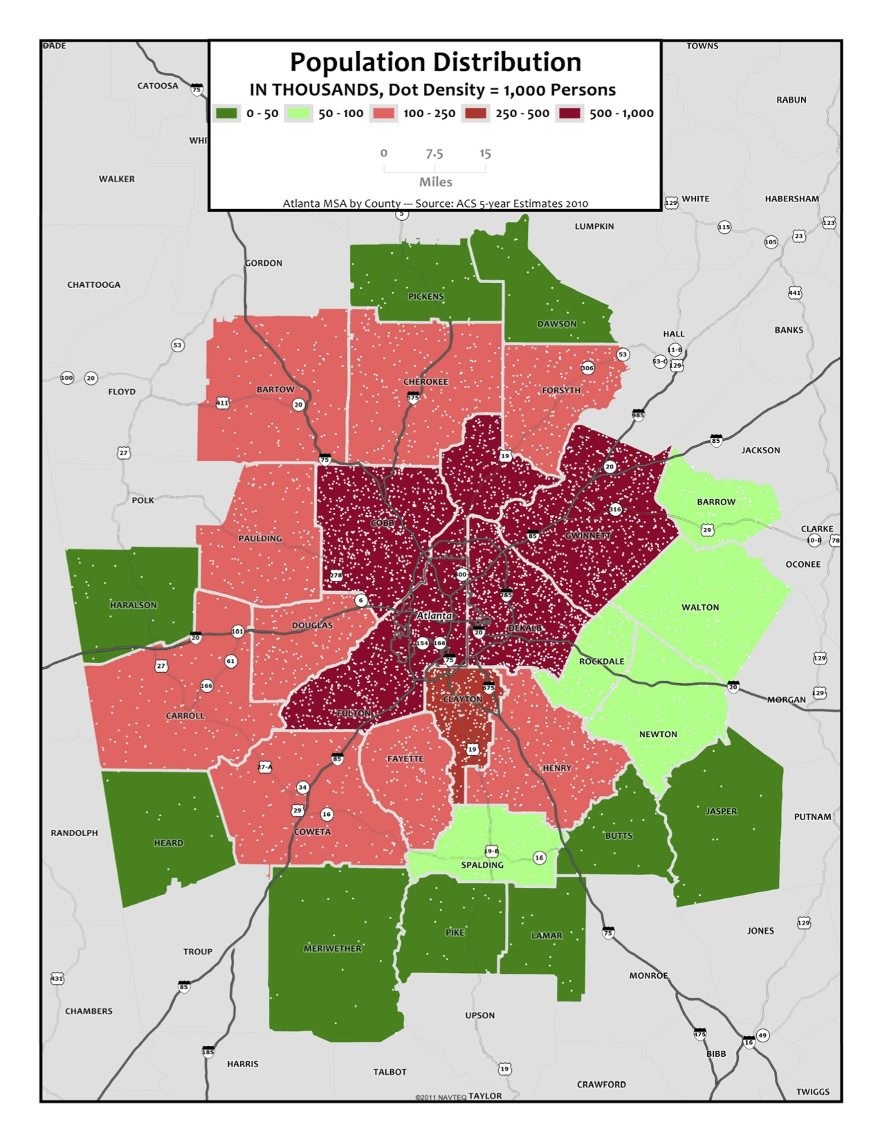 Population Distribution  Metro Counties  Metro Atlanta