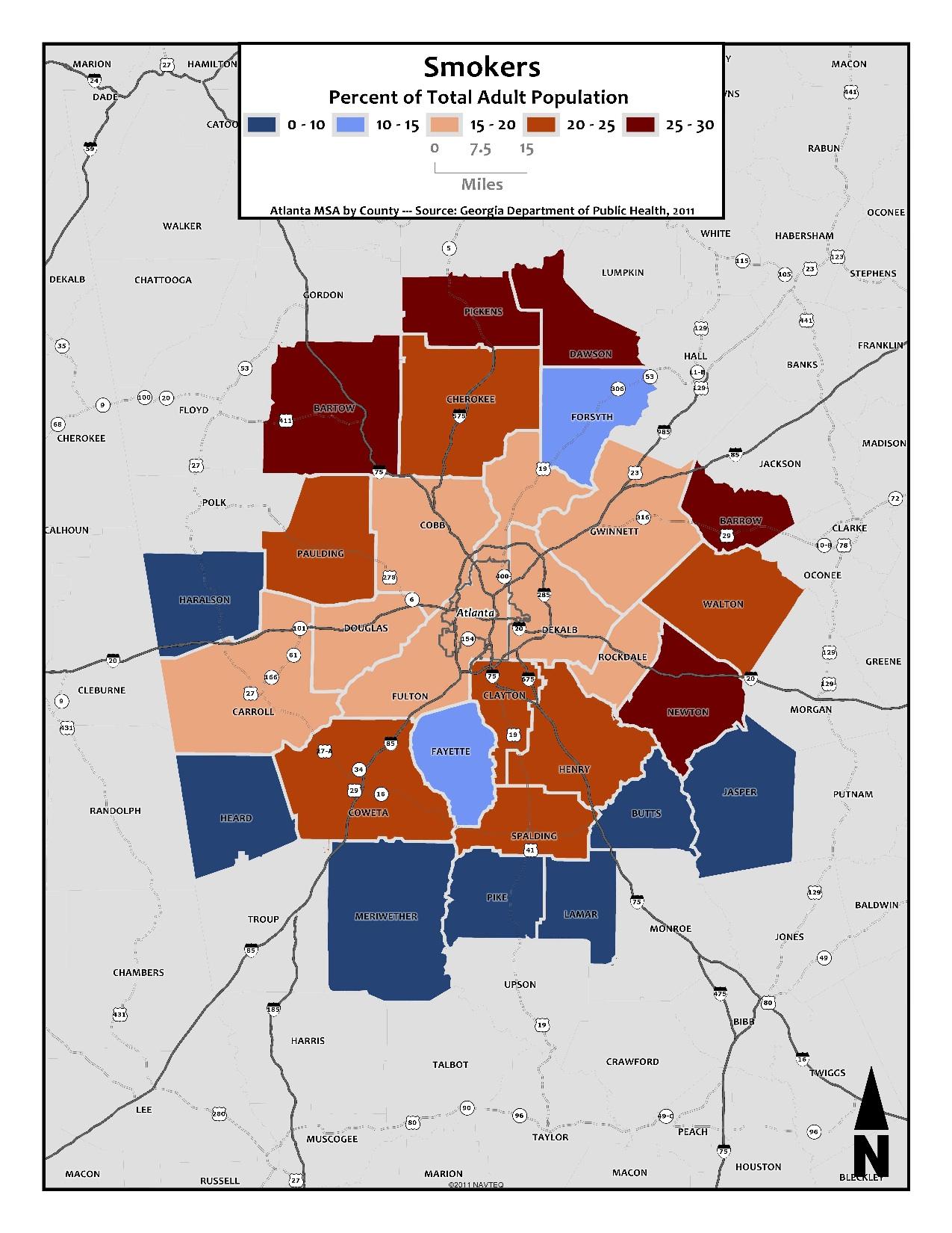 Smokers – metro counties