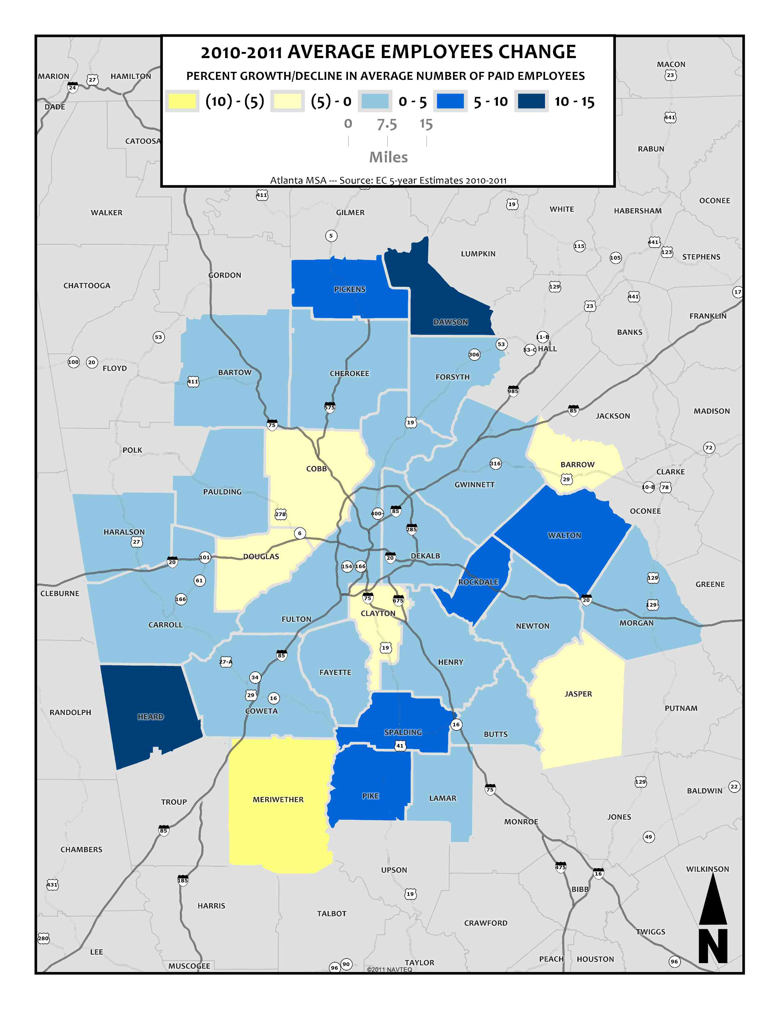 Average Company Size by Paid Employees Change Percent, 2010-2011 – metro counties