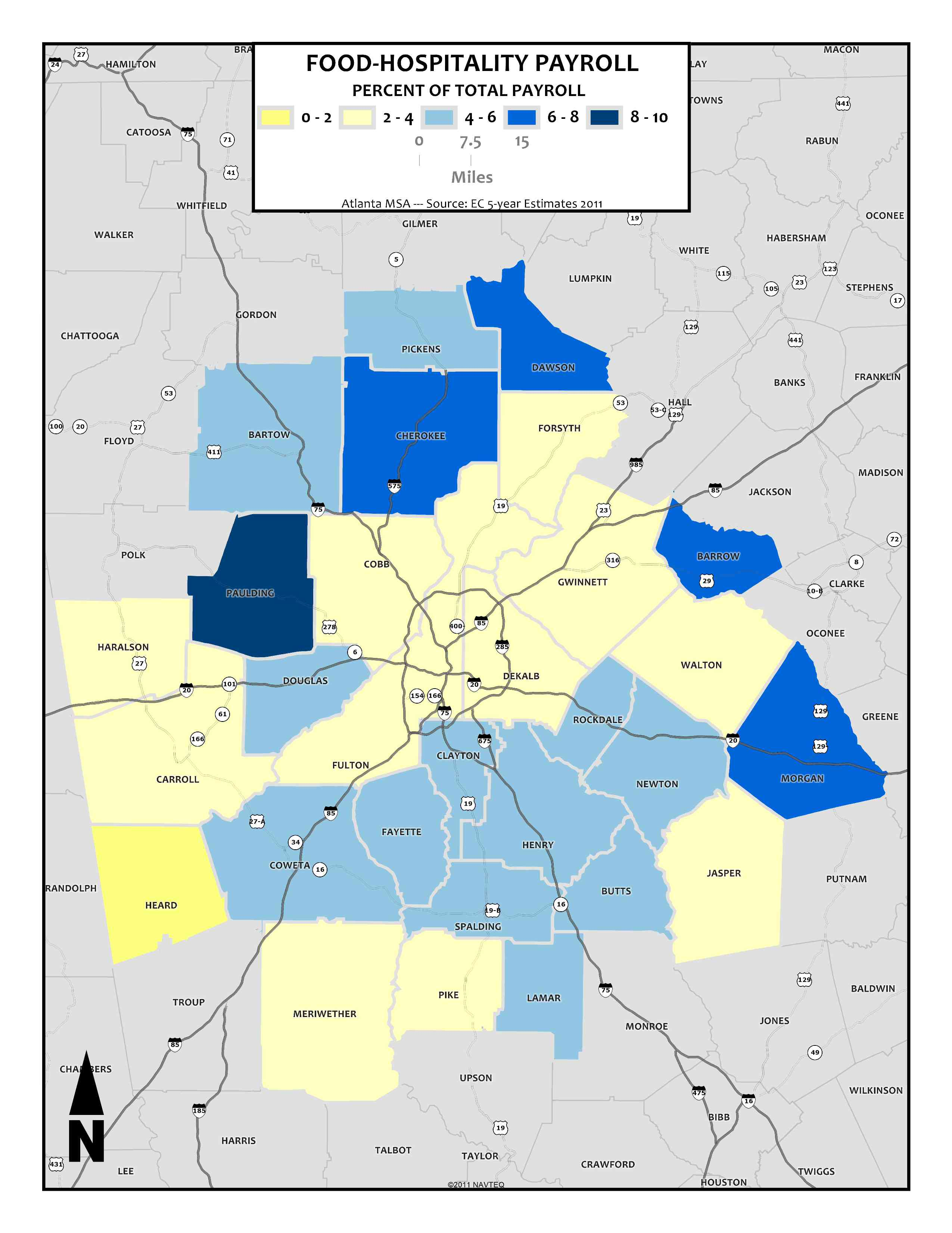 Food & Hospitality Payroll (Industry Share), 2011 – metro counties