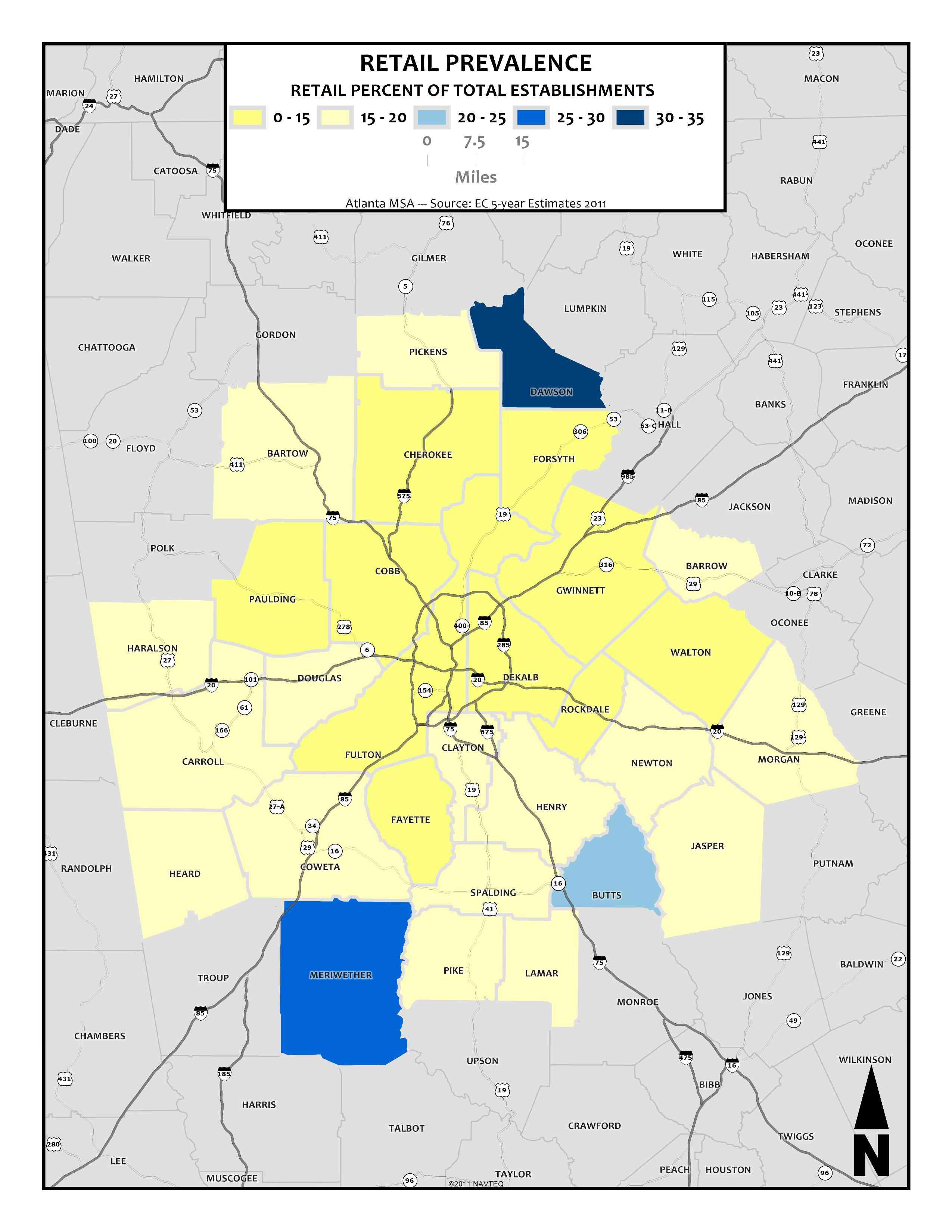 Retail Prevalence, 2011 – metro counties