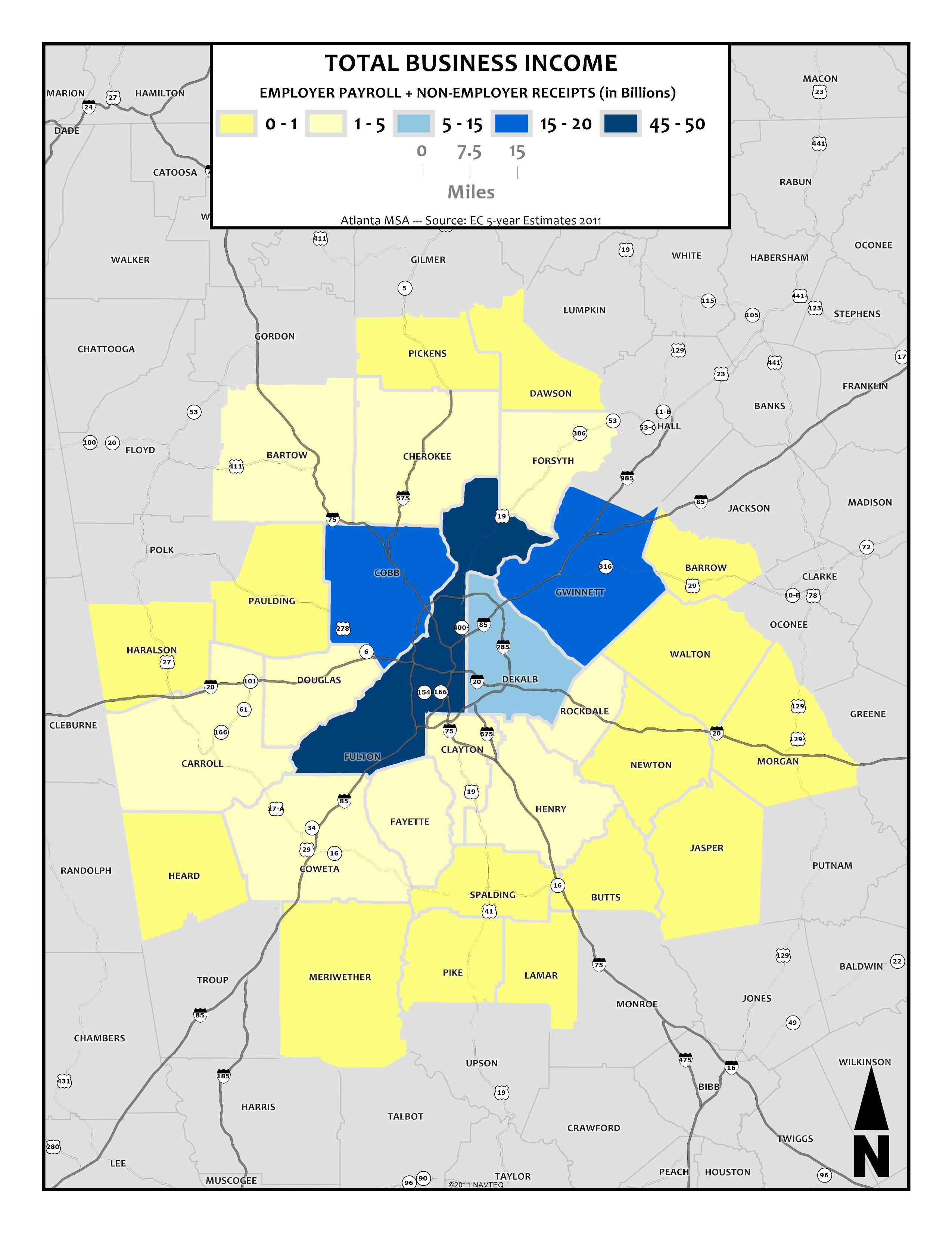 Total Business Income, 2011 – metro counties
