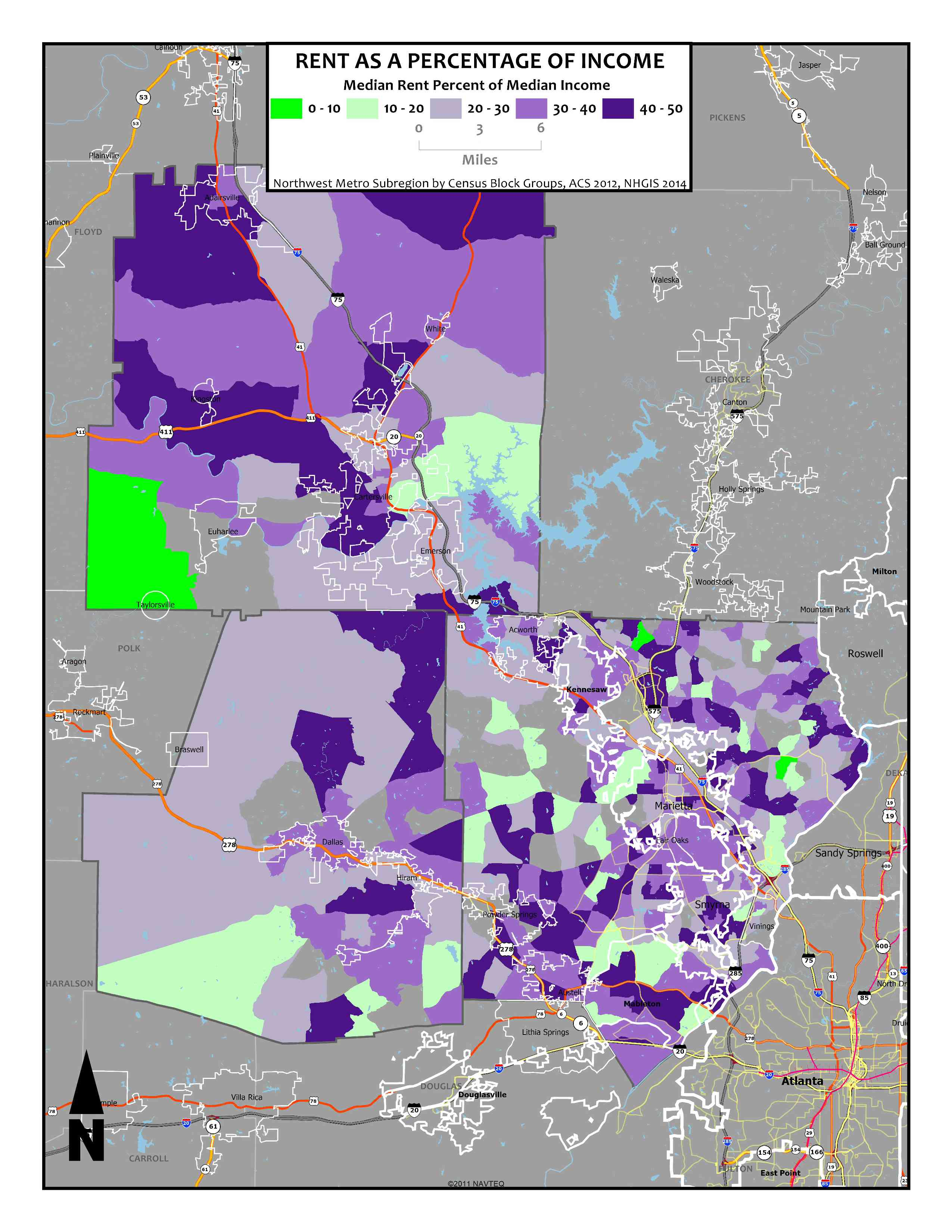 Rent as a Percentage of Income – Northwest Metro Atlanta Block Groups